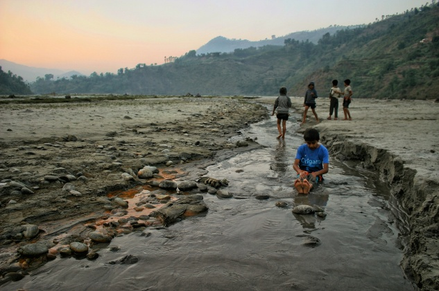 Indrawati River Nepal Children Sunset