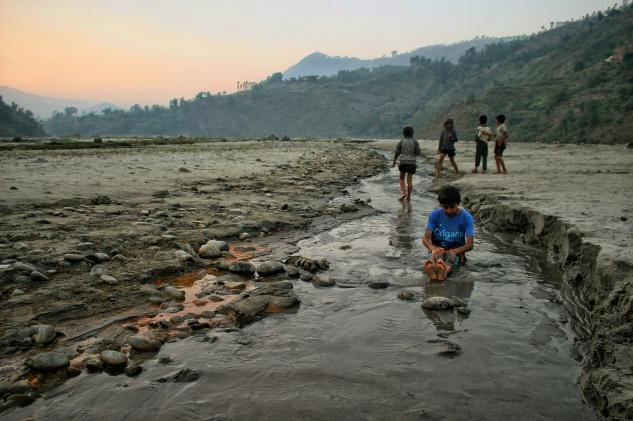 Indrawati River Nepal Children Sunset