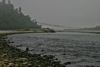 Indrawati River Suspension Bridge Fog Nepal